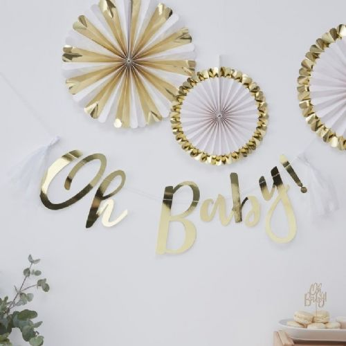 'Oh Baby!' Gold Foiled Letter Banner - 1.5m (each)